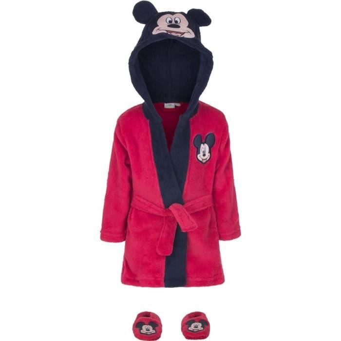 Ensemble Robe de Chambre à Capuchon et Chaussons MICKEY MOUSE pour Bébés en Rouge T: 9-12 mois - HQ0331