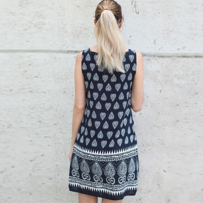 2017 sans manches de la mode femmes robe imprimé rétro