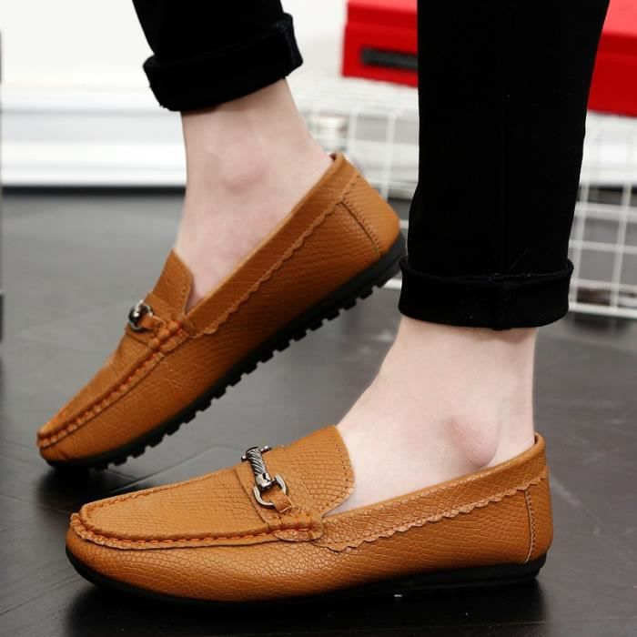 Mode Flats Chaussures Hommes Mocassins Souliers simple en cuir véritable homme Flats Oxford Chaussures Chaussures Hommes Driving nvaPOhyTh