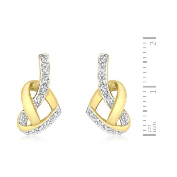 Femmes 9 Ct or jaune Coeur de diamant noeud Boucles doreilles 1KNBSE