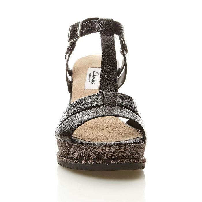 Adesha River - Sandales compensées en cuir - noir