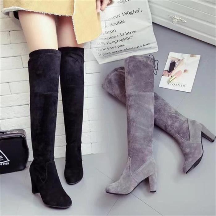 hautes bottes chaussures vin 35 en sexy super noir daim Lady gris cuisse daim étirent haut genou brun bottes rouge talons marron q1I6Xw