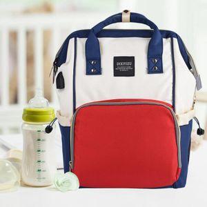 e3f67dca2ffa9e Grande capacité maman maternité Sac à dos multi-fonctionnelle Sac à couches  pour bébé avec port USB, sac à couches, 1XKZF1