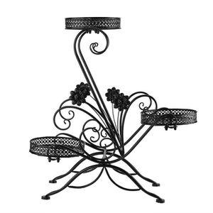 JARDINIÈRE - POT FLEUR  Support de pot de fleur en fer à 3 niveaux pour pr