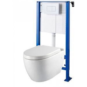 WC - TOILETTES Pack wc suspendu autoportant NF et cuvette céramiq