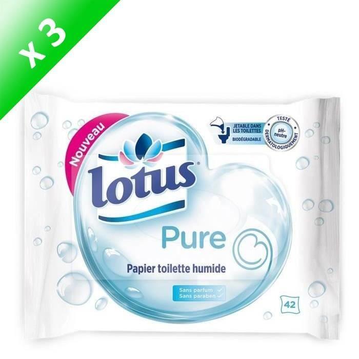 LOTUS Papiers toilette humide - Pure - 42 feuilles - Lot de 3