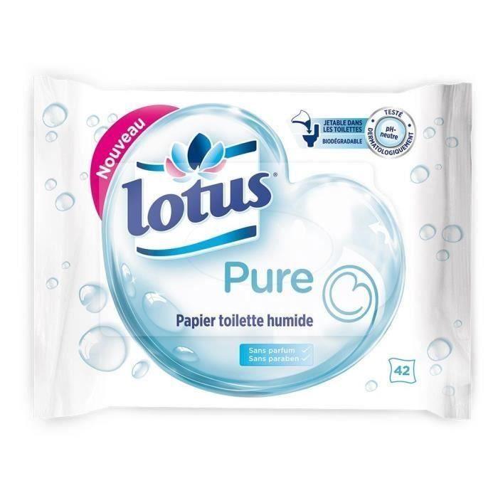LOTUS Papiers toilette humide - Pure - 42 feuilles - Lot de 6