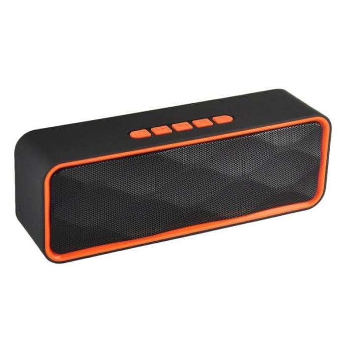 1pc Haut-parleur Stéréo Extérieur Portable Sans Fil Bluetooth Basse Orange