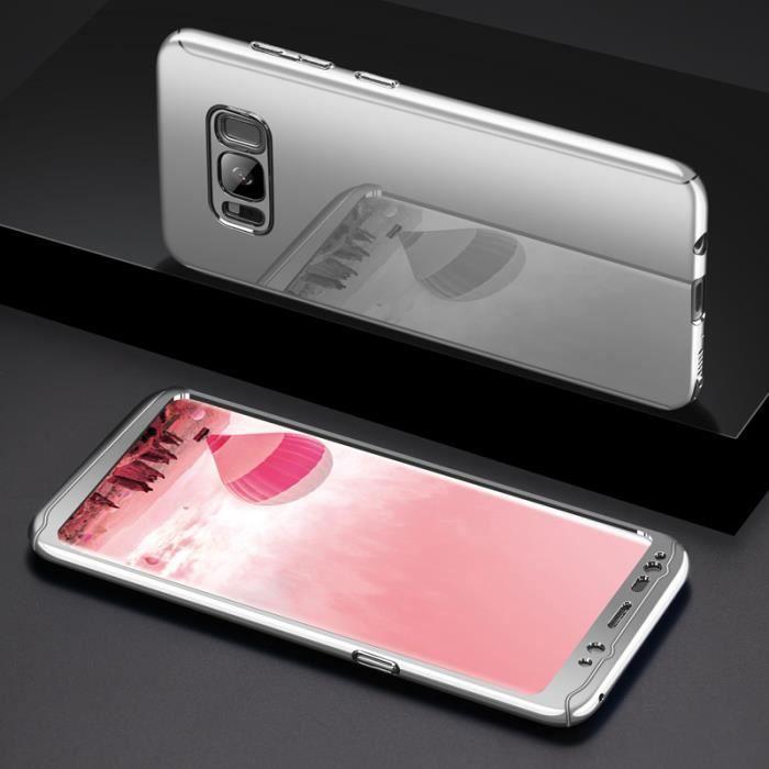 Coque Samsung Galaxy S8 Plus Placage PC Miroir Etui 2 en 1 360° Protection  Intégrale Etanche Ultra Mince Housse Argent + Film d0d534f00984