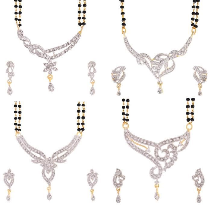 Womens Trendy American Diamond Gold Plated galsutra Combo 4 Set A5XVT