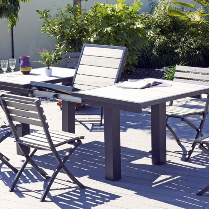Salon de jardin - Table rallonge papillon + 6 chaises acier et ...