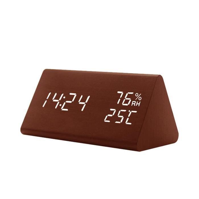 Leegoal Réveil Led En Bois Triangle, Horloge Alarme À Usb Prise,avec La Température Et L'humidité,brun