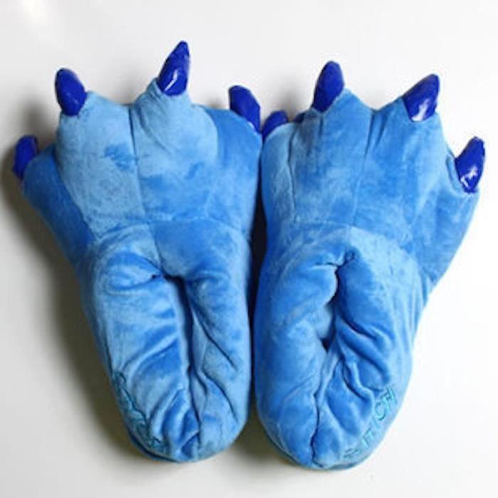 Chaussons Pantoufles Enfants Mules, Chaussures D'hiver Chaudes Pantoufles de Coton, Taille Gratuit (Bleu)