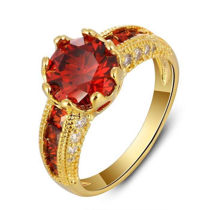 bague de rubis de luxe pour les femmes en or 18 carats plaqu anneau de mariage de fian ailles. Black Bedroom Furniture Sets. Home Design Ideas
