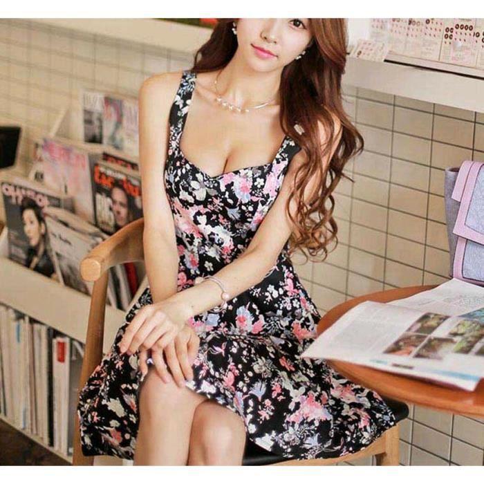 Femmes dété occasionnelles soirée florale Short mini robe