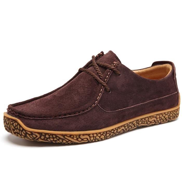 TYERY Sandales en Cuir Faits à la Main Pour Hommes Confort Tout Pantoufles Pantoufles Respirantes Cool Hommes Chaussures, marron, 38