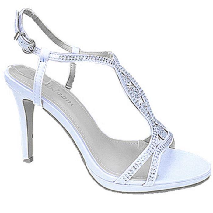 c526a3e5154bb6 Fashionfolie888 - Femme escarpins mariage talon aiguille strass sandale  Satin Bout Ouvert 3714 BLANC