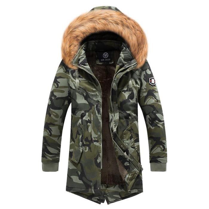 Militaire Mi Capuche Longue Parka Camouflage Fausse Homme Fashion pzna55