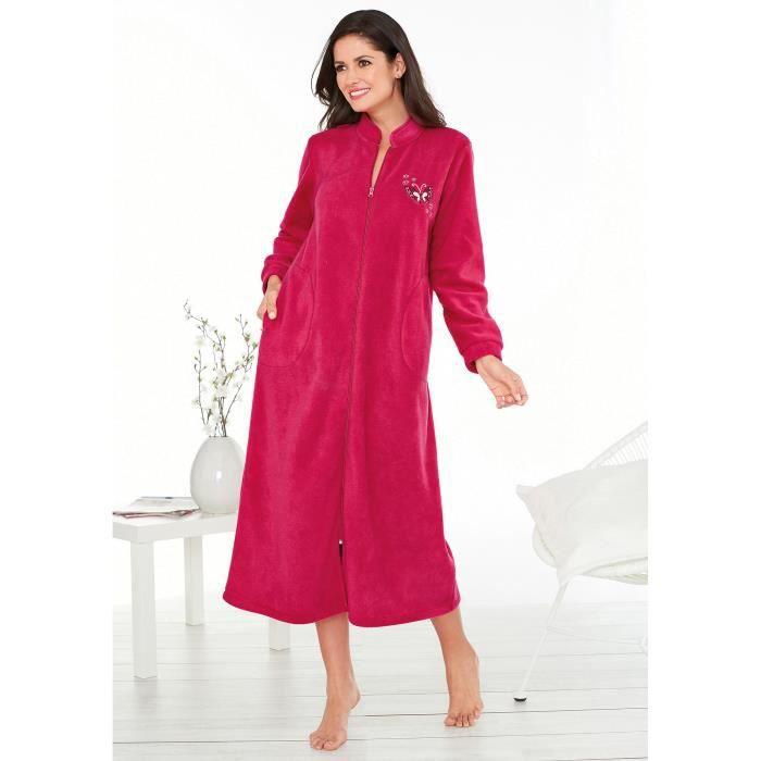 ROBE DE CHAMBRE Robe de chambre polaire zippée broderie femme