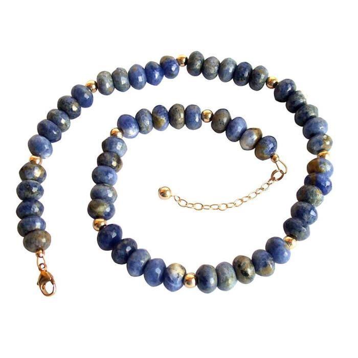 Gemshine - Femmes - Collier - or - lapis - facettes - Bleu - 45 cm