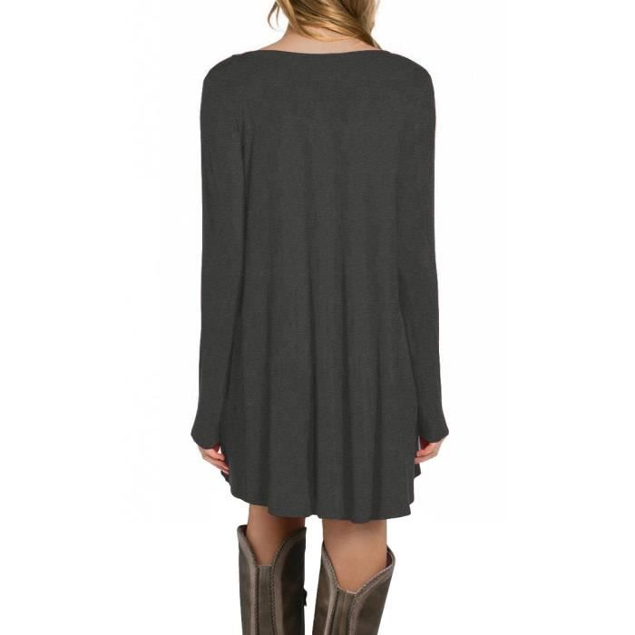 Womens Long Sleeve Casual Loose Pocket Tunic Dress (uk 8,10,12,14,16,18,20) 2O7T66 Taille-38