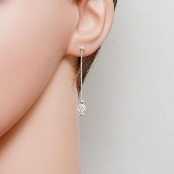 Boucles d oreilles Argent 925 ref 43827 Blanc