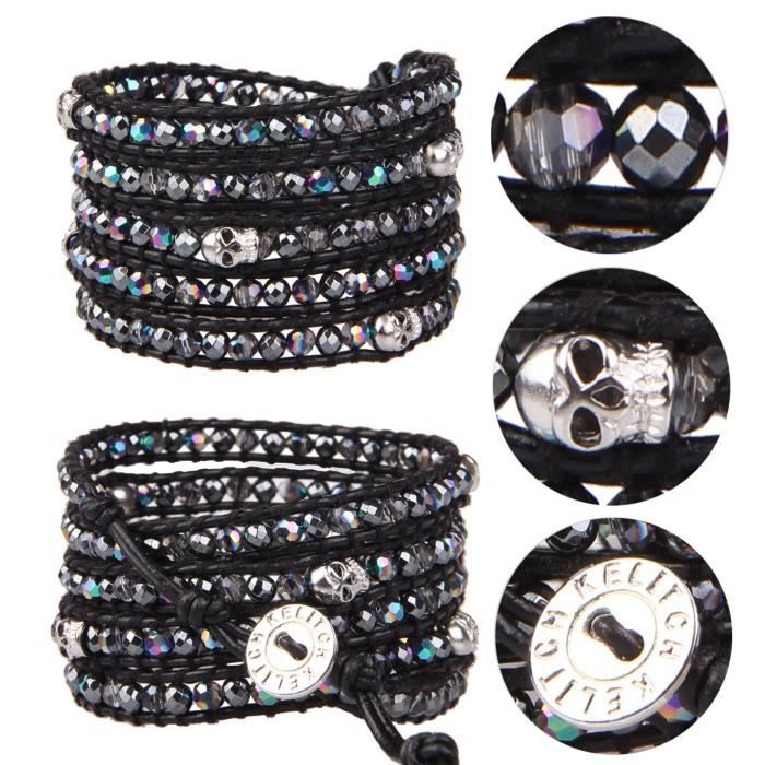 Womens Various Semi-precious Stones And Crystal Bead Two Tone Bracelet For , 5 Wraps Leather ZY95H