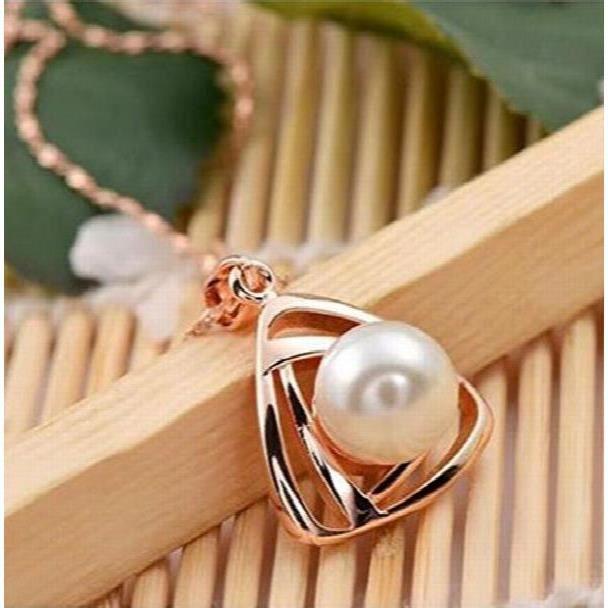 Diva 18k brillant Femmes dor platiné Triangle Bijoux en perles de cadeau Set PourZ5OVF