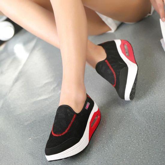 Femmes Outdoor Casual Mesh Chaussures de sport Casual Outdoor coussin d'air semelle épaisse Chaussures Baskets Noir_Cu*2048 Noir Noir - Achat / Vente basket 14468a
