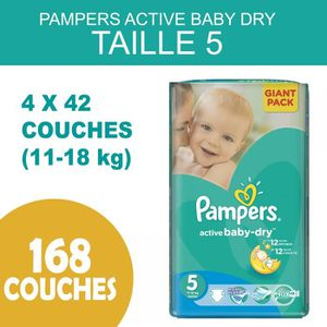 COUCHE PAMPERS ACTIVE BABY DRY TAILLE 5  - 168 COUCHES  (