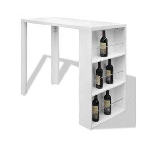 MEUBLE BAR Superbe Table de bar Blanche Vernissée avec 3 étag