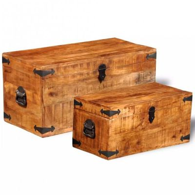 nouveau style 3bc35 703f9 Lot de 2 coffres de rangement / Malles en bois de manguier massif CS2416341