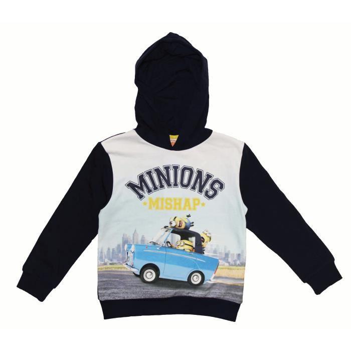 MINIONS Sweatshirt - Enfant Garçon - Bleu Marine Imprimé