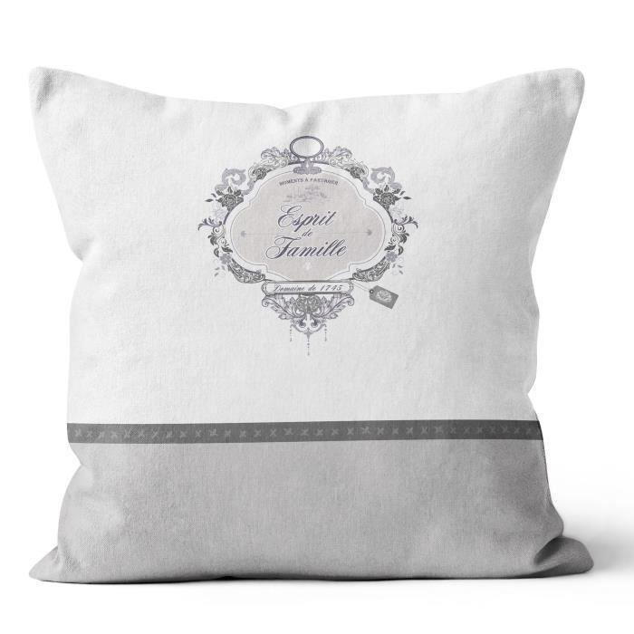 SOLEIL D' OCRE Coussin Esprit de Famille 100% coton - Déhoussable - 40 x 40 cm - Blanc