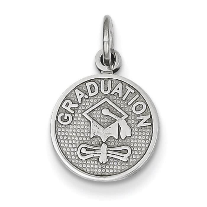 Or blanc 14 carats-Graduation disque poli-Dimensions :12 x 11 mm