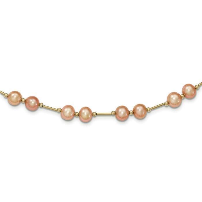 En or 14 carats Perle Rose 6–7 mm Fw Collier de perles 18 pouces