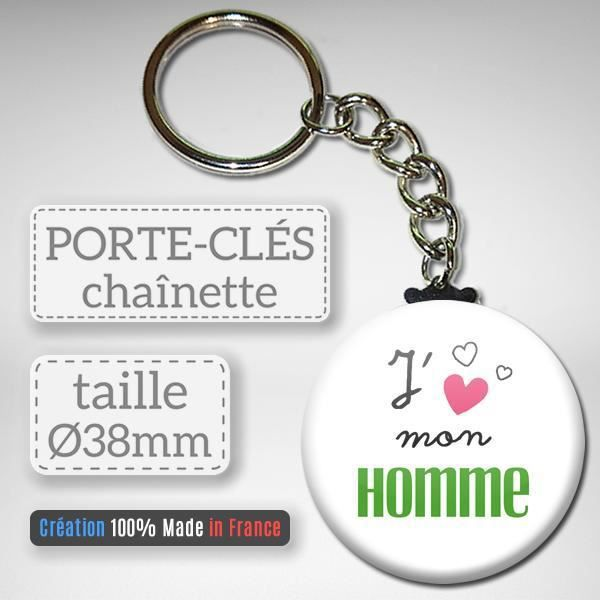 Un Cadeau De Noel Pour Mon Cheri.J Aime Mon Homme Porte Clés Chaînette 38mm Idée Cadeau