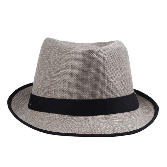 apparence élégante nouvelle apparence vente en ligne Noir été Chapeau de Paille Panama Fedora Hat Populaire Homme Femme Petit  Bord Soleil Plage