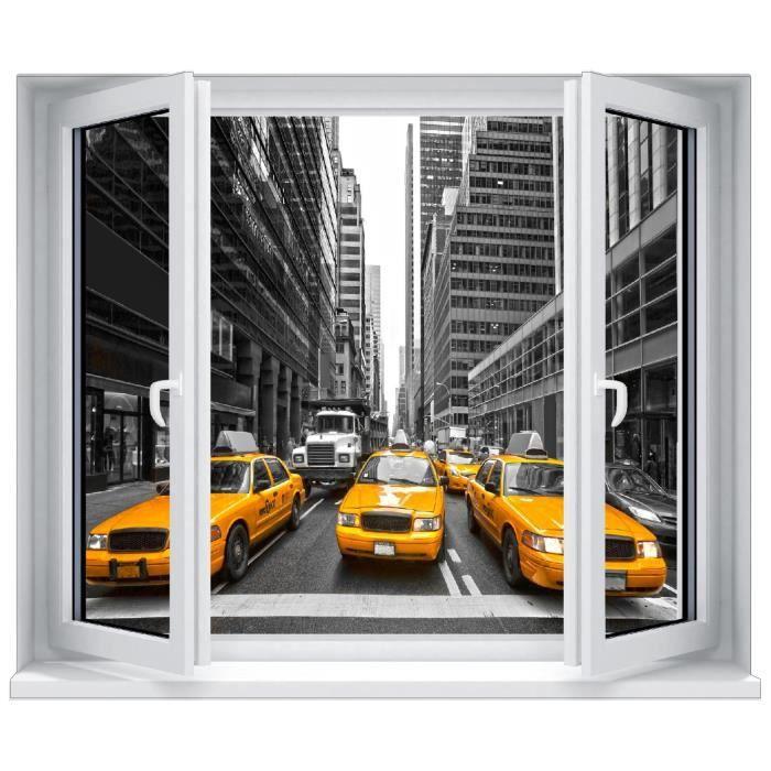 Sticker trompe l\'oeil fenêtre New York Taxi jaune Dimensions ...