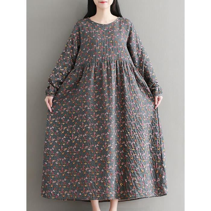 Femmes Une ligne à manches longues Robe à motif floral Pastoral 11691136