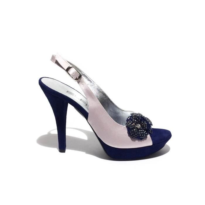Elata Sandale raso e cuir cipria-blu Fait en Italie talon 11cmart.11151 T. 36 zUMTQs