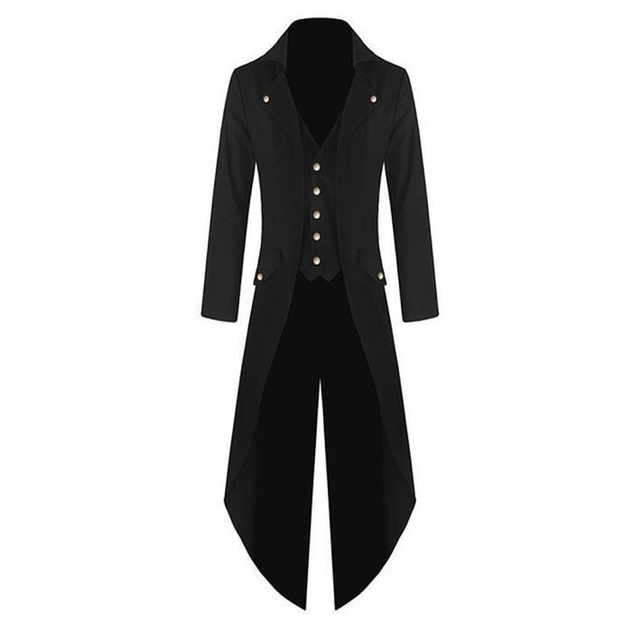 Manteau Veste Long Homme Queue de Pie Costume Coupe Vent Style Punk Blazer  NOIR d1756496137