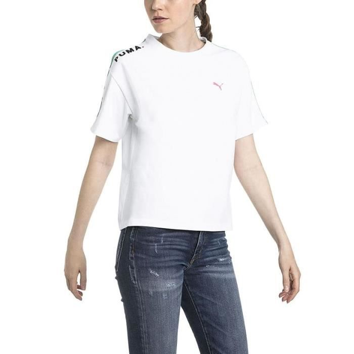 e7b87e5a0a T-Shirt Puma Chase blanche Blanc Blanc - Achat / Vente t-shirt ...