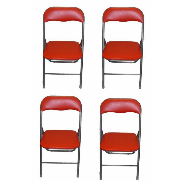 CHAISE Lot De 4 Chaises Pliantes Rouge