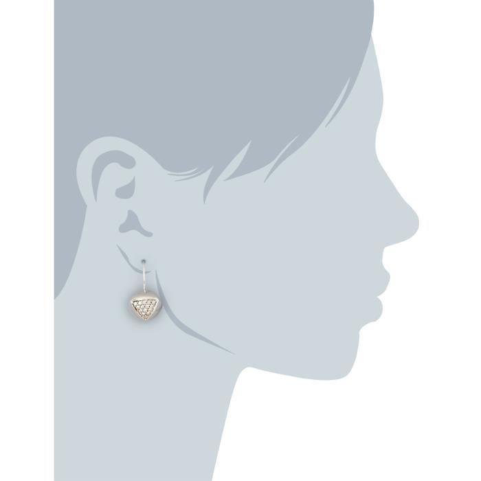 C1224e-90-03 - Boucles Doreilles Pendantes Femme - Argent 925-1000 11.1 Gr - Zirconium CL7BL