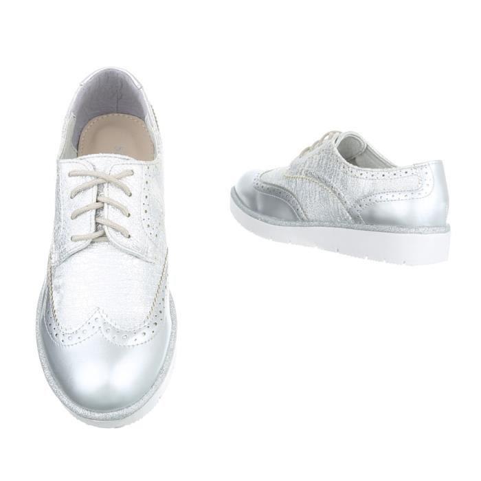 Femme chaussures flâneurs lacer argent 40 nC80llOoJ