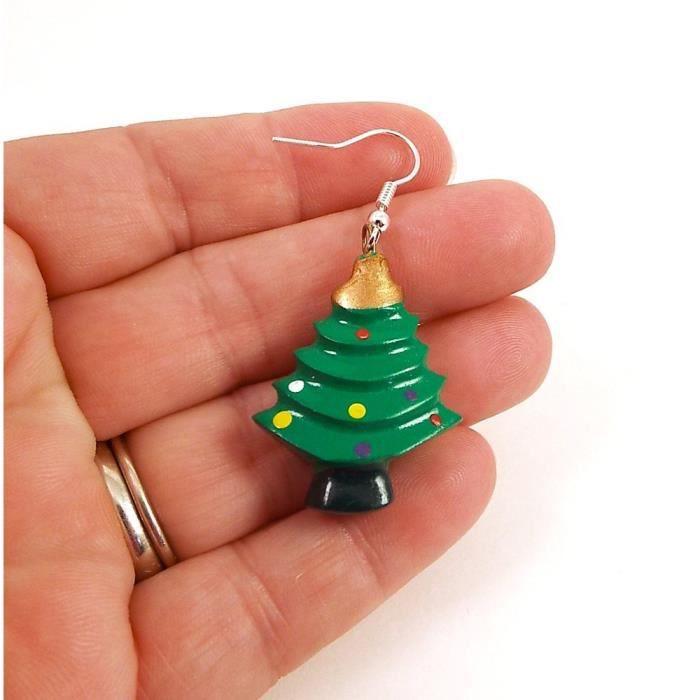 La main de la femme en bois peint Grandes Boucles doreilles arbre de Noël YVF0U