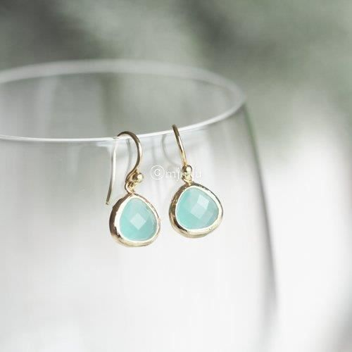 Womens Crystal Glass Aqua Blue Mint Green Drop Earrings AZ4QS