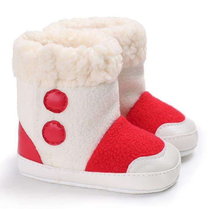 Bébé fille garçons Soft semelle bottes de neige bébés tout-petits nouveau-né chaussures de réchauffement rouge