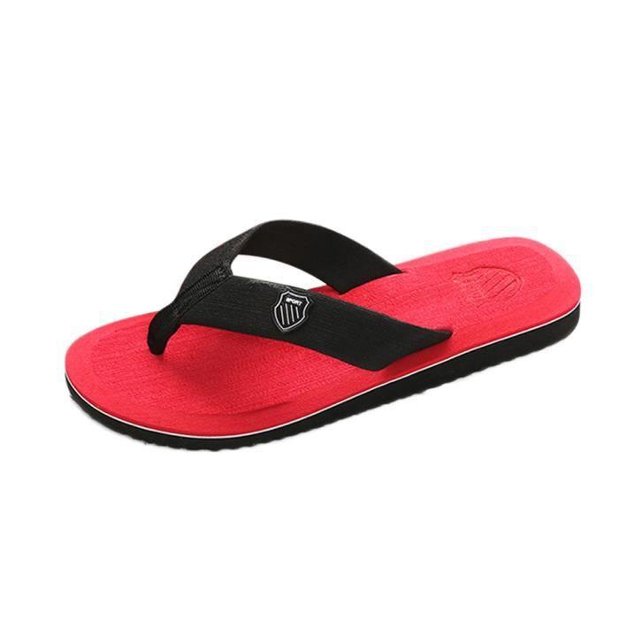 Pantoufles d'été pour hommes Pantoufles de plage Sandales d'intérieur et d'extérieur @SJF80104732RD jrRvtlTy
